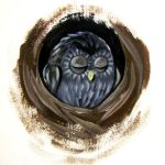 Sleepy Owl in a Hollow by whimsycatcher