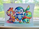 Chimchar, Piplup, and Turtwig by Jaylynessa