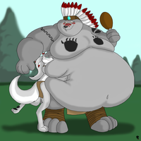 Huging Daddys Belly by Big-Wolf