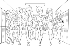 princess cheerleaders sketch by Sinapi