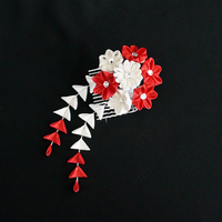 Red and Ivory Tsumami Kanzashi 216 by japanesesilkflowers