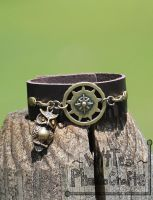 Brass Owl and Compass Cuff Bracelet - FOR SALE by WitTea