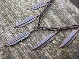 Copper Feather Necklace by Lost-in-the-day