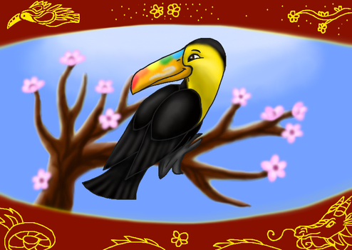 Toucan on a cherry branch by Copanel-CP