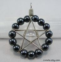 Hematite and Clear Quartz Star Pendant by LWaite