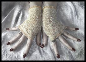 Ivory Lace Fingerless Gloves by ZenAndCoffee