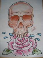 skull and glass rose by AsatorArise
