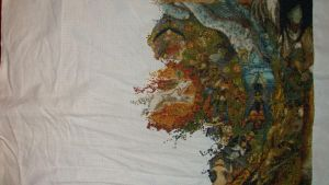 Okami Cross Stitch HALF FINISHED by Anim-Soul