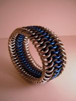 Blue and Steel Stretch Cuff by chainmaille