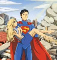 Superman Rescues an Anime Girl by HeonGaiden