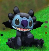stitch as toothless by stitch-blue