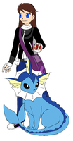 Trainer and Vaporeon by Kainaa