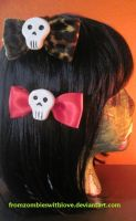 Skully Hair Bows by fromzombieswithlove