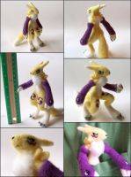 Needle Felted Posable Renamon Plush by SnowFox102