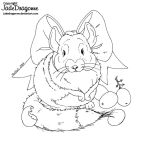 Chinchilla and grapes - LINEART by JadeDragonne
