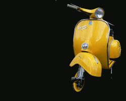 YELLOW VESPA SCOOTER by amoebabloke