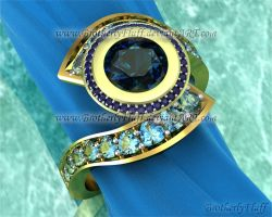 3D Ocean blue bypass ring by BrotherlyFluff