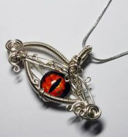 Wire Wrap Eye of Sauron Pendant - RARE by Create-A-Pendant