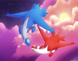 Latias and Latios by uixela