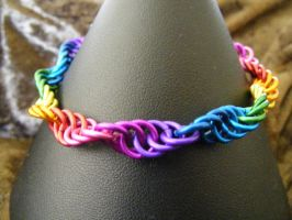 spiral rainbow bracelet by BacktoEarthCreations