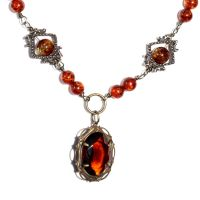 Padparadcha steampunk Necklace by CatherinetteRings
