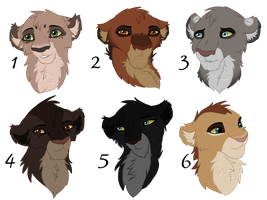 Lion Headshot Adopts 3 :Closed: by WolvesWoodGlenAdopts