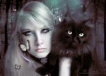 The Lady and the cat by MsDeadly