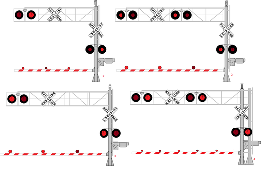 Various Cantilever Signals with Gates Lit 3 by WillM3luvTrains