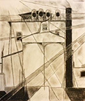 My Egypt by Charles Demuth in charcoal by wortmore