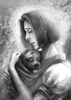 FOR SALE! Crying girl and her dog by art-adoption