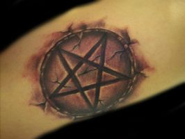 pentagram tattoo by hatefulss