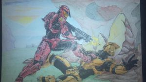 Halo Red vs Blue commission by steelcitycustomart