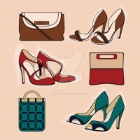 Three pair of shoes. Vector illustration. by JuliaPainter