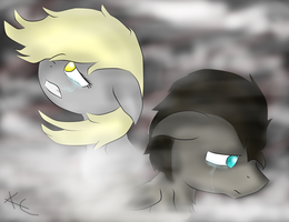 In the fog- Discord Whooves and Derpy by Idris111