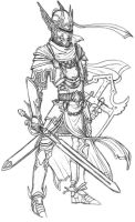 Paladin armor line art by CrimsonGear