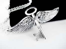 Silver Winged Key Necklace by pila12903