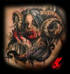 Demon Queen Portrait Tattoo by Jackie Rabbit by jackierabbit12