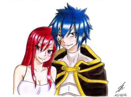 Jellal and Erza by PrettyLittleWolf