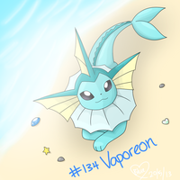 #134 Vaporeon by Bluekiss131