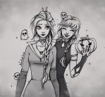 Halloween: Elsa and Anna by natalico