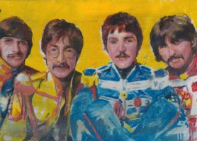 beatles sketch card by charles-hall