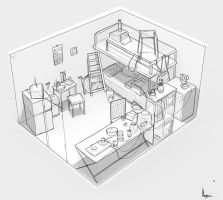Hong kong room - perspective drawing exercise by ArtOfMonkfish