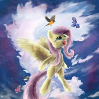 Fluttershy and some birds by SuperRobotRainbowPig
