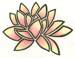 Water Lily Tribal Colored by Tayeloquin