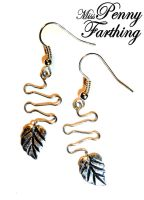 Silver Leaf Drop Earrings by MissPennyFarthing