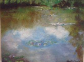 Painting of a lake (inspired in a work by Monet) by husar32