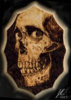 Evil Dead Skull Woodburning by vileangelofdeath