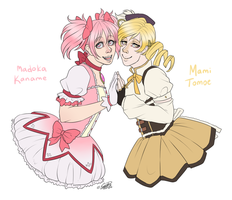 Madoka and Mami by EmBBu-chan