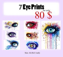7 different Eye Prints by PixieCold