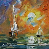A date with the sunset by L.Afremov by Leonidafremov